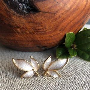 Vintage Goldtone and Silver Leaf Clip Earrings